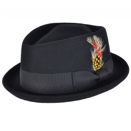 Black Pork Pie Hat - Diamond Crown - Crushable